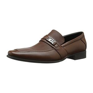 卡尔文·克雷恩 Bartley Diamond 男式棕褐色皮革乐福鞋皮鞋 #British Tan
