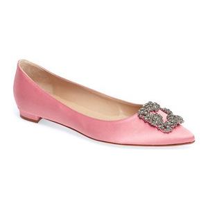 马诺洛(Manolo Blahnik) Hangisi 平底鞋女士 #粉红佳丽缎 #Pink Satin