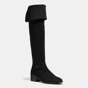 蔻驰(Coach) 女士真皮过膝靴 #BLACK