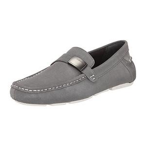 卡尔文·克雷恩 卡尔文克莱恩-男式青灰色仿麂皮无鞋带乐福鞋 #Pewter