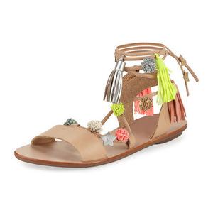 莱夫勒·兰达尔 Suze Pompom AnkleWrap Sandal #WHEATFLUO MULTI #WHEAT/FLUO MULTI