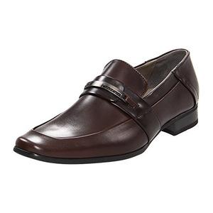 卡尔文·克雷恩(Calvin Klein) Brice 男式深棕色无鞋带休闲皮鞋 #Dark Brown