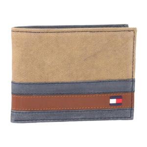 汤米·希尔费格(Tommy Hilfiger) 男士帆布皮革拼接钱包 #Khaki