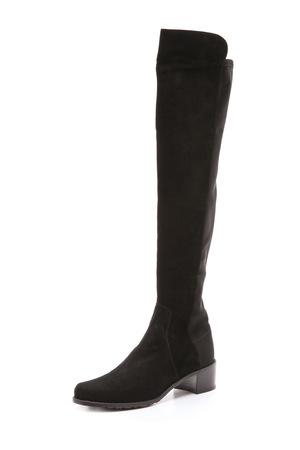 斯图尔特·韦茨曼(Stuart Weitzman) Reserve 弹性绒面革靴子 #黑色