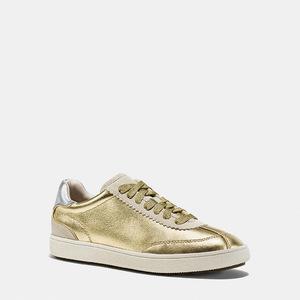 蔻驰(Coach) 女士真皮系带运动鞋 #GOLD/SILVER