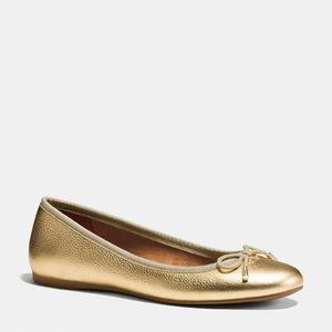 蔻驰(Coach) 女士真皮平底鞋 #GOLD