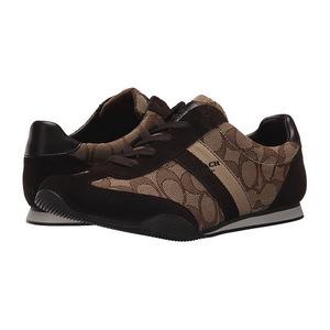 蔻驰(Coach) 女士运动鞋 #Khaki/Chestnut Sig/Suede