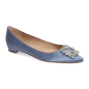 马诺洛(Manolo Blahnik) Hangisi 平底鞋女士 #蓝色 #Blue