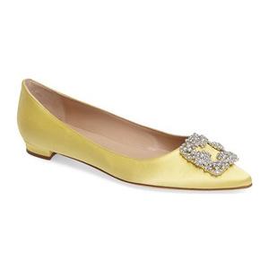 马诺洛(Manolo Blahnik) Hangisi 平底鞋女士 #黄色 #Yellow