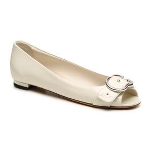 古驰(Gucci) Final Sale   Patent 真皮 Interlocking G 平底鞋 #象牙白 #Ivory