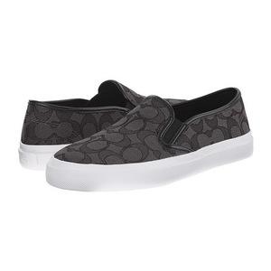 蔻驰(Coach) 黑色LOGO款一脚蹬平底鞋帆布鞋 #Black/Smoke/Black Signature C/Nappa