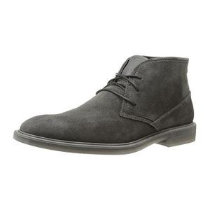 卡尔文·克雷恩 男士木炭色仿麂皮高帮皮马靴 #Charcoal