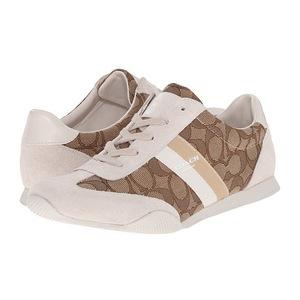 蔻驰(Coach) Logo款 休闲运动鞋 #Khaki/Chalk Sig/Suede