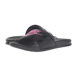 耐克 女士凉鞋 #Black/Vivid Pink-Black