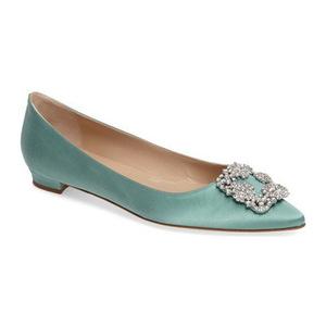 马诺洛(Manolo Blahnik) Hangisi 平底鞋 #蓝色薄荷绿佳丽缎 #Blue/ Mint Satin