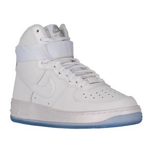 耐克 Air Force 1 High  Womens #WhiteWhiteMatte SilverBlue Tint  Width  B  中号  Premium  荧光色 #White/White/Matte Silver/Blue Tint | Width - B - Medium | Premium - Iridescent
