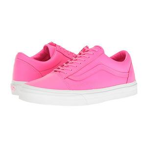 万斯(Vans) Old Skool #Neon 真皮 Neon PinkTrue 白色 #(Neon Leather) Neon Pink/True White