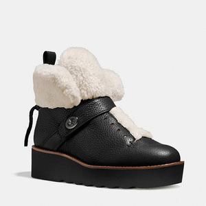 蔻驰(Coach) 女士短筒靴 #BLACK/NATURAL