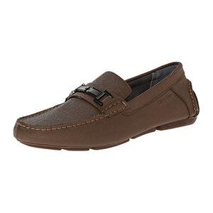 卡尔文·克雷恩 卡尔文克莱恩-男式Magnus深棕色编织压花无鞋带乐福鞋休闲皮鞋 #Dark Brown