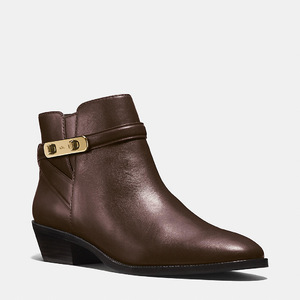 蔻驰(Coach) 女士真皮短筒靴 #CHESTNUT