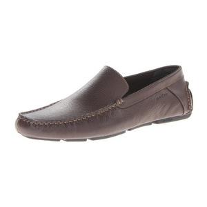 卡尔文·克雷恩 Miguel 男式深棕色皮革无鞋带乐福鞋皮鞋 #Dark Brown