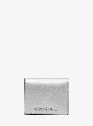 迈克高仕 Jet 套装 Travel 金属色 Saffiano 真皮 Card Holder #银色 #SILVER