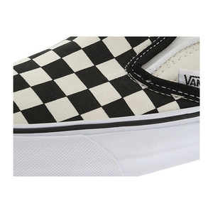 万斯 经典一脚蹬 #Black and White Checker/White (Canvas)