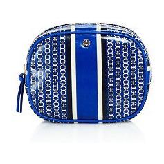 汤丽柏琦(Tory Burch) Gemini Cosmetic Case #Jewel 蓝色 Gemini Link StripeGold #Jewel Blue Gemini Link Stripe/Gold