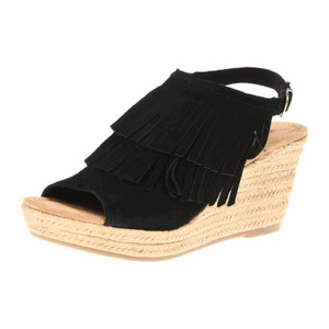 迷你唐卡(Minnetonka) Womens Ashley Wedge Sandal #黑色磨砂皮 #Black Suede