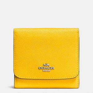 蔻驰 女士十字纹短款钱包 #SILVER/YELLOW