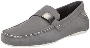 卡尔文·克雷恩(Calvin Klein) 卡尔文克莱恩-男式青灰色仿麂皮无鞋带乐福鞋 #Pewter