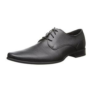 卡尔文·克雷恩(Calvin Klein) Brodie Epi 男式黑色皮革牛津鞋 #Black