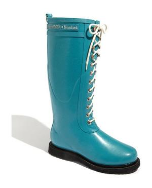 ILSE JACOBSEN Hornbæk Rubber Boot 女士 Wide 牛犊皮 #蓝绿色 #Turquoise