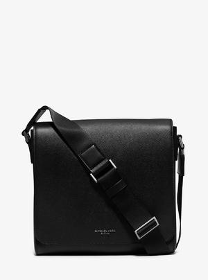 迈克高仕 Harrison 中号真皮 Messenger Bag #黑色 #BLACK