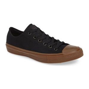 匡威(Converse) Chuck Taylor All Star II 低帮帆布鞋帆布运动鞋男士 #黑色黑色树胶 #Black/ Black/ Gum