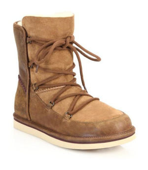 UGG Australia-绒面羊皮系带短靴 栗色 #Chestnut