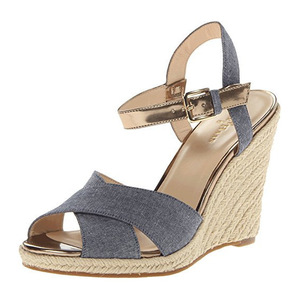 可汗(Cole Haan) Women's Hart Wedge Sandal #Denim/Gold