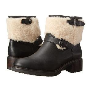蔻驰(Coach) 女士靴子 #Black/Natural Sfr Leather/Shearling