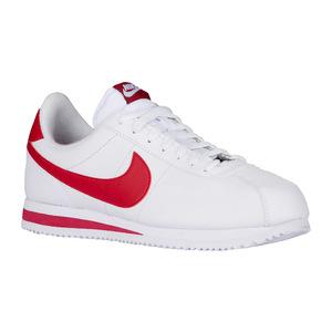 耐克 Cortez  Mens #WhiteGym 红色  Width  D  中号真皮 #White/Gym Red   Width - D - Medium   Leather