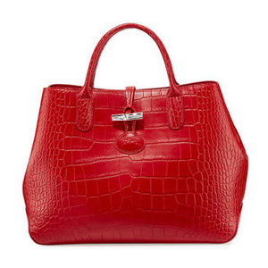 珑骧 Roseau Croco 中号手提包 #红色 #RED