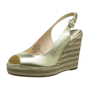 玖熙(NINE WEST) Women's Forevryung Synthetic Wedge Sandal #Light Gold/Multi