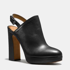 蔻驰(Coach) 女士真皮高跟鞋 #BLACK