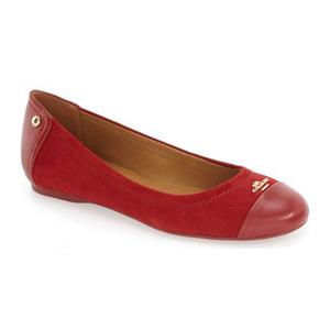 蔻驰(Coach) 女士芭蕾平底鞋 #Red Suede/ Leather