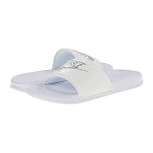 耐克 女士凉鞋 #White-Metallic Silver