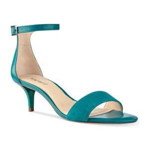 玖熙(NINE WEST) Nine West Leisa TwoPiece Kitten Heel 凉鞋 #暗蓝绿色真皮 #Dark Turquoise Leather
