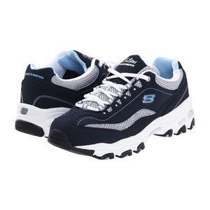斯凯奇(Skechers) 【舒适百搭 明星同款】女士运动鞋熊猫鞋 厚底增高 #Navy/White