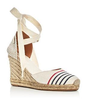Soludos 女士踝带坡跟草编鞋 #Ivory/Red/Navy