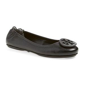 汤丽柏琦(Tory Burch) 'Minnie' Travel 芭蕾平底鞋 with Logo (女士)-黑色真皮 #Black Leather