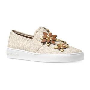 迈克高仕(Michael Kors) MICHAEL  Heidi MK Logo 一脚蹬板鞋 #Vanilla