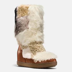 蔻驰(Coach) 女士真皮短筒靴 #SADDLE/NATURAL MULTI